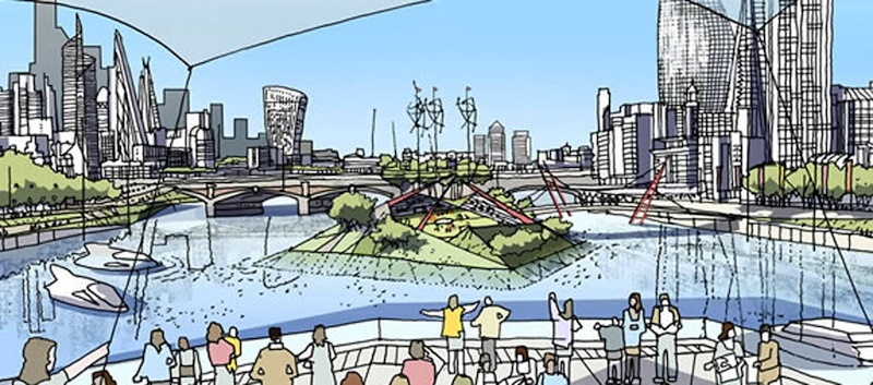 Looking east along the Thames toward the City circa 2050?